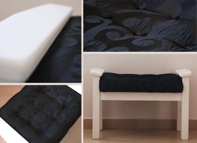 """הדום וינטג' משופץ בשחור/לבן יכול לשמש גם כספסל קטן אורך: 67 ס""""מ רוחב: 40 ס""""מ גובה: 42 ס""""מ מחיר: נמכר!"""