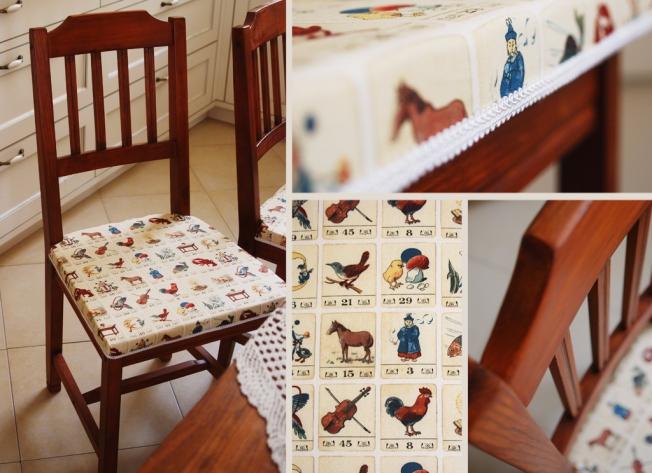 """כסאות עץ מלא משופצים, צבועים בלכה בגוון דובדבן ומרופדים בבד מעצבים מתאימים למטבח או לפינת אוכל * נמכרים כסט של ארבעה בלבד * מחיר: 300 ש""""ח לכסא"""