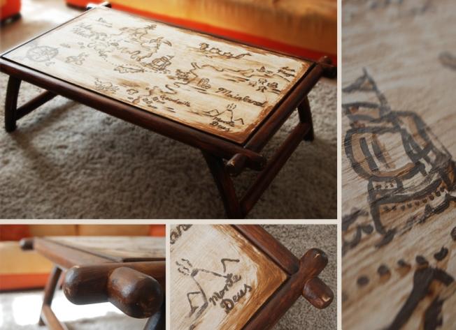 """שולחן פיראטים - שולחן עץ מלא משופץ ומצויר בעבודת יד אורך: 128 ס""""מ רוחב: 82 ס""""מ גובה: 42 ס""""מ מחיר: 1800 ש""""ח"""
