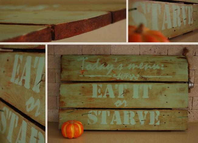 """שלט השראה מעץ ממוחזר - יכול להתאים למטבח או לפינת אוכל אורך: 65 ס""""מ רוחב: 38 ס""""מ מחיר: 290 ש""""ח"""